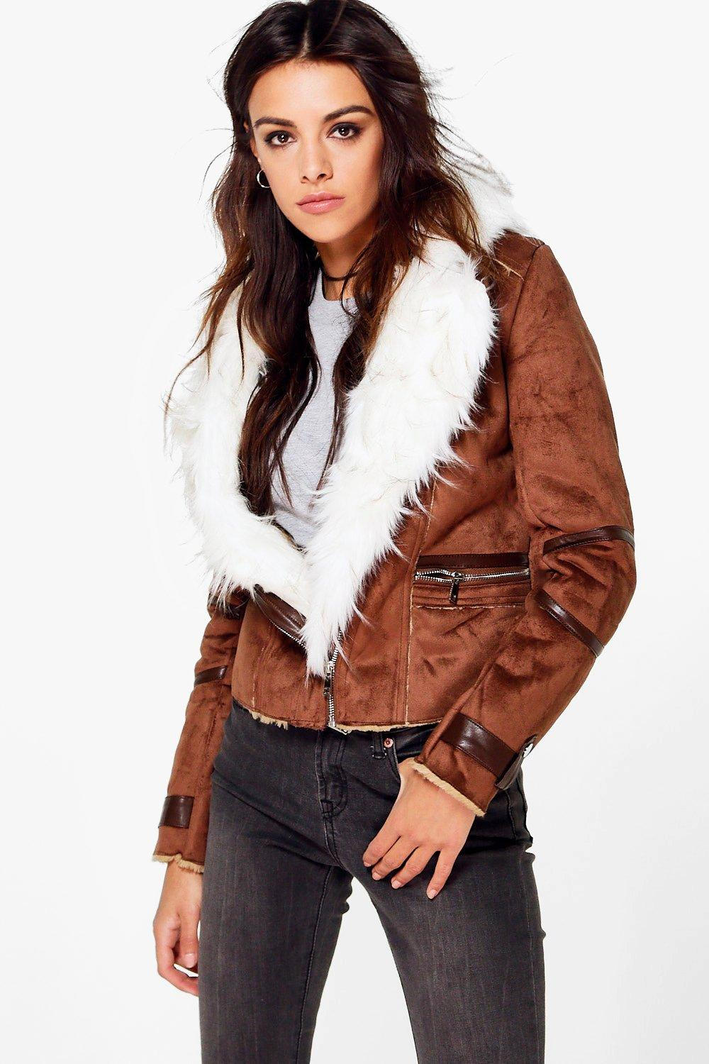 Emma Suedette Biker With Faux Fur Lining