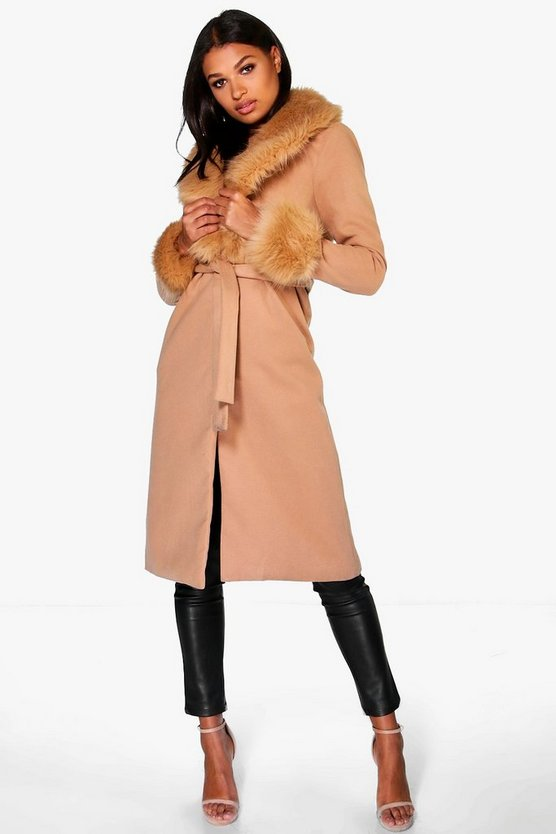 Amelie Faux Fur Cuff and Collar Coat
