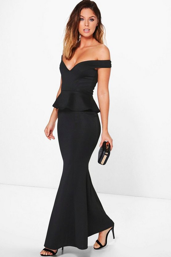Harley Off Shoulder Fishtail Peplum Maxi Dress