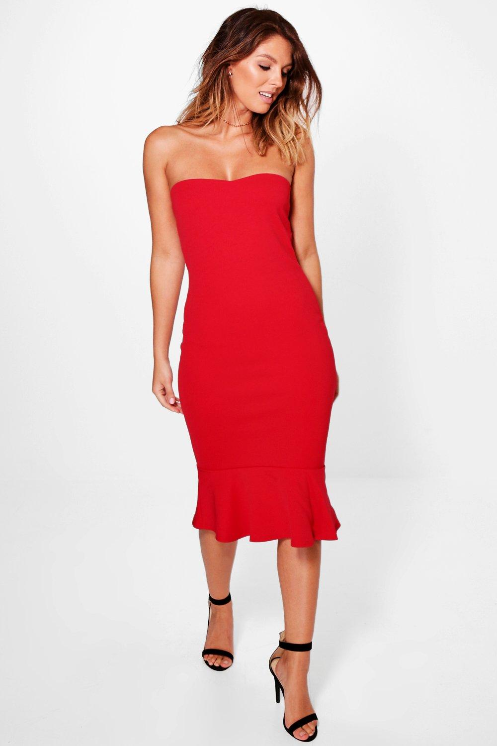 Harriet Ruffle Hem Bandeau Midi Dress
