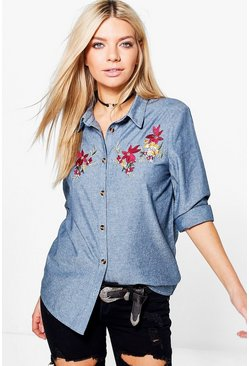 Natasha Embroidered Denim Shirt