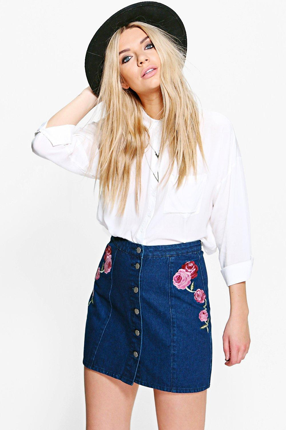Whitney Embroidered Denim Skirt