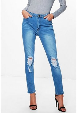 Lacey High Waist Distressed Skinny Jeans