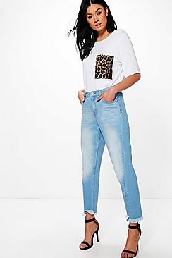 Kayla Step Hem Seam Detail Mom Jeans