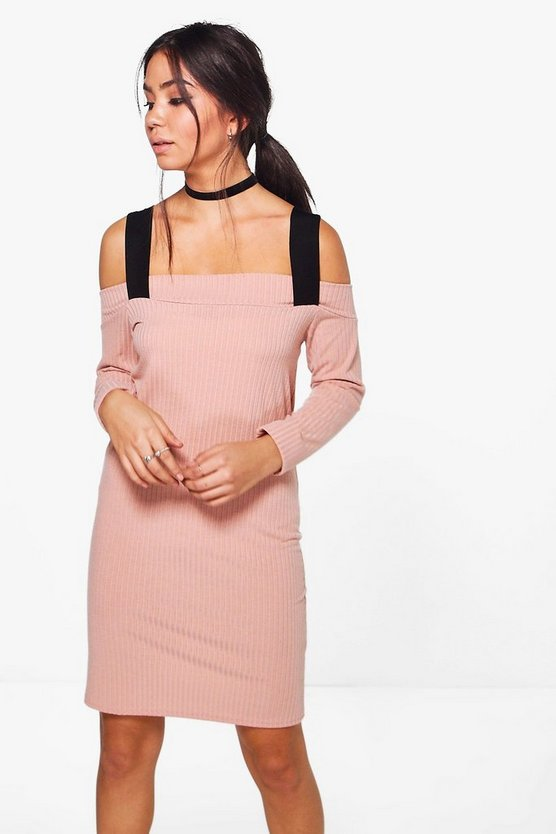 Greta Cold Shoulder Rib Shift Dress