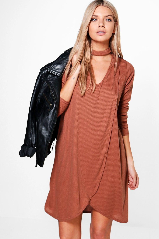 Wrap Front Rib Choker Shift Dress - chestnut