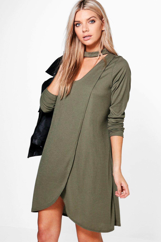 Wrap Front Rib Choker Shift Dress - khaki