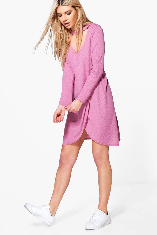 Wrap Front Rib Choker Shift Dress - lilas