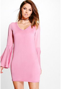 Marie A-Line Volumised Sleeve Shift Dress