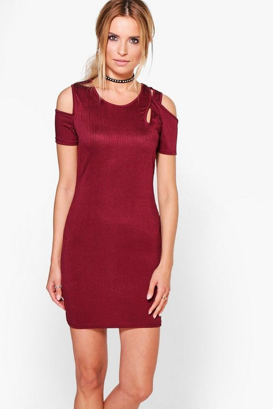 Ashmita Ribbed Cut Out Bodycon Dress
