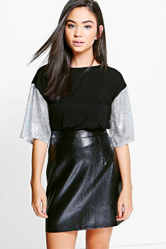 Noelle Oversized Sequin Sleeve T-Shirt