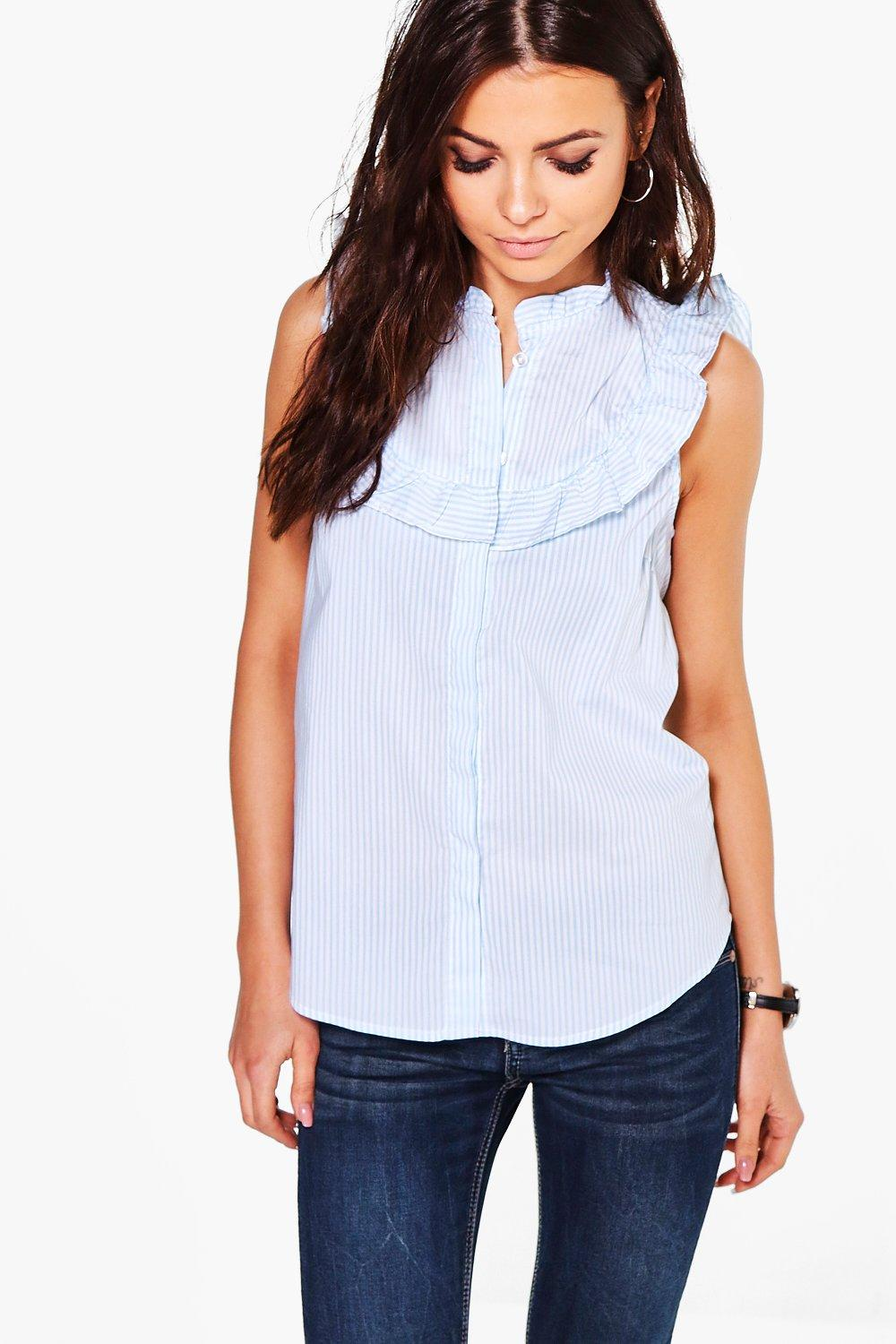 Nancy Stripe Ruffle Sleeveless Shirt