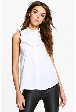 Nancy Ruffle Sleeveless Tailored Shirt