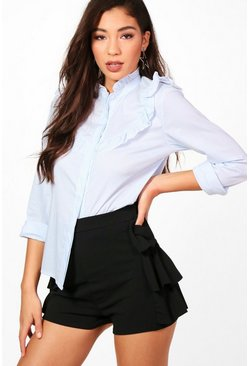 Maisie Stripe Ruffle Tailored Shirt