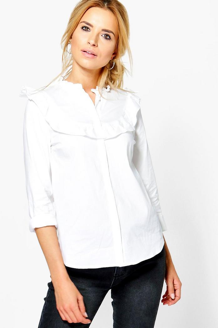 Maisie Ruffle Tailored Shirt Boohoo