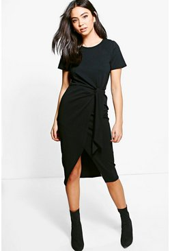 Lottie Tie Front Tailored Scuba Midi Dress