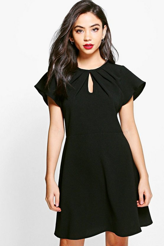 Savannah Fluted Sleeve Woven Skater Dress