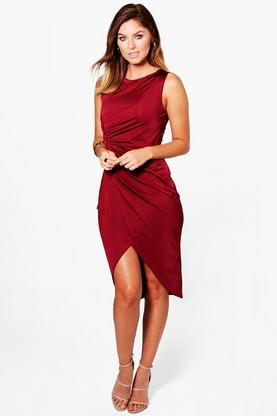 Harlie Slinky Wrap Over Midi Dress