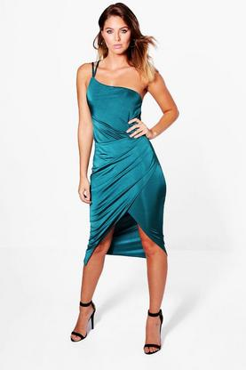 Loren One Shoulder Rouched Midi Dress
