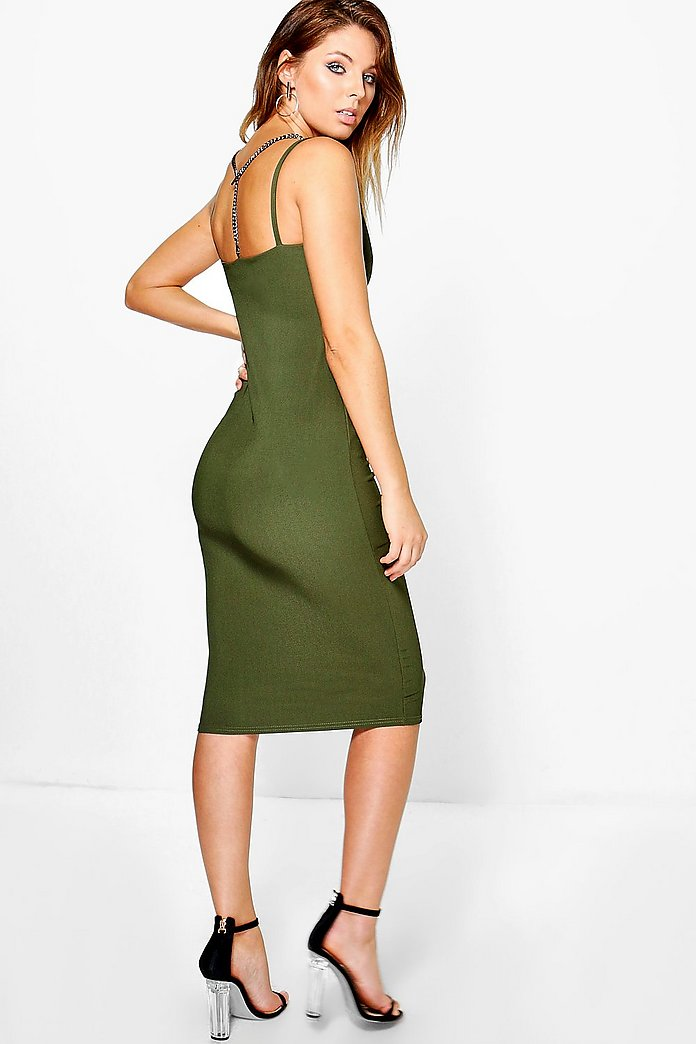 Kyla Strappy Metal Trim Ribbed Midi Dress