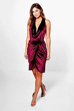 Sally Velvet Gathered Bodycon Dress