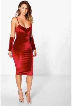 Annie Velvet Open Sleeve Bodycon Dress