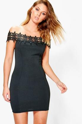 Sinetta Lace Off Shoulder Bodycon Dress