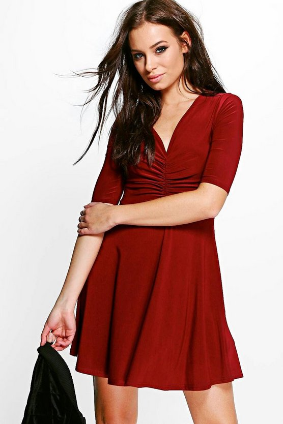 Anna Slinky Rouche Detail Skater Dress