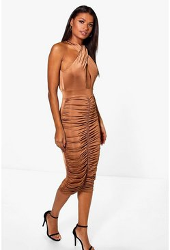 Elizabeth Slinky Wrap Rouched Midi Dress