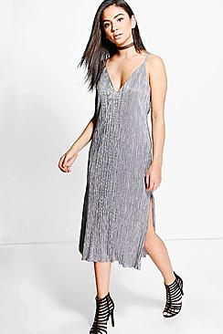 Yasmin Metallic Pleated Midi Shift Dress