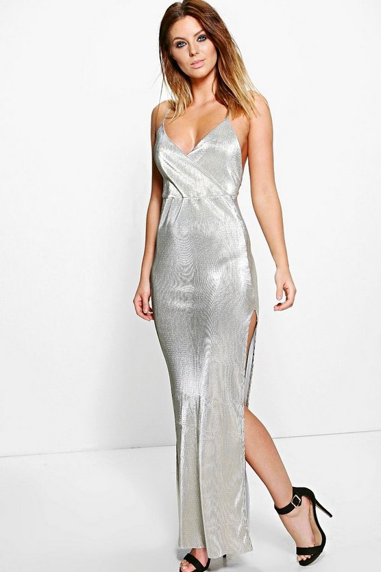 Polly Metallic Drape Thigh Split Maxi Dress