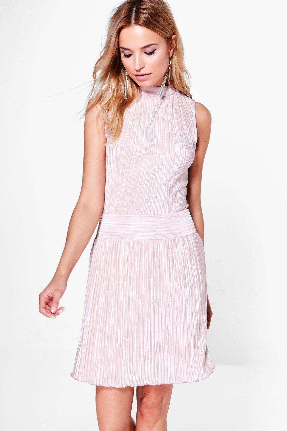 Tilda High Neck Pleated Skater Dress