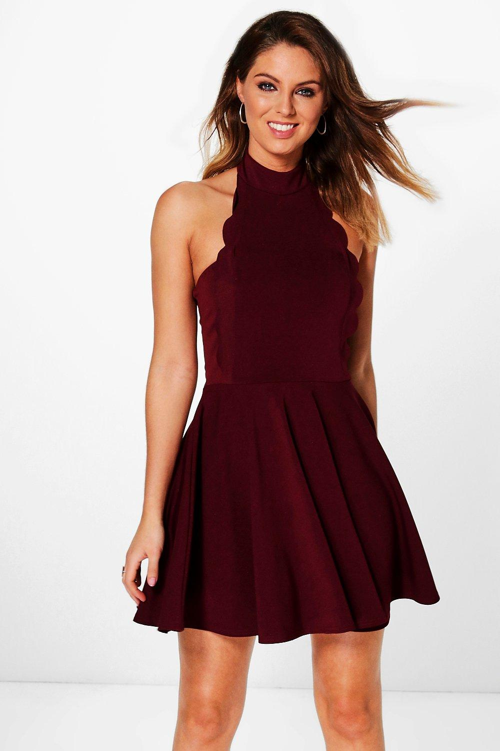 Jolene High Neck Scallop Skater Dress