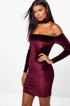 Ursula Velvet Choker Bodycon Dress