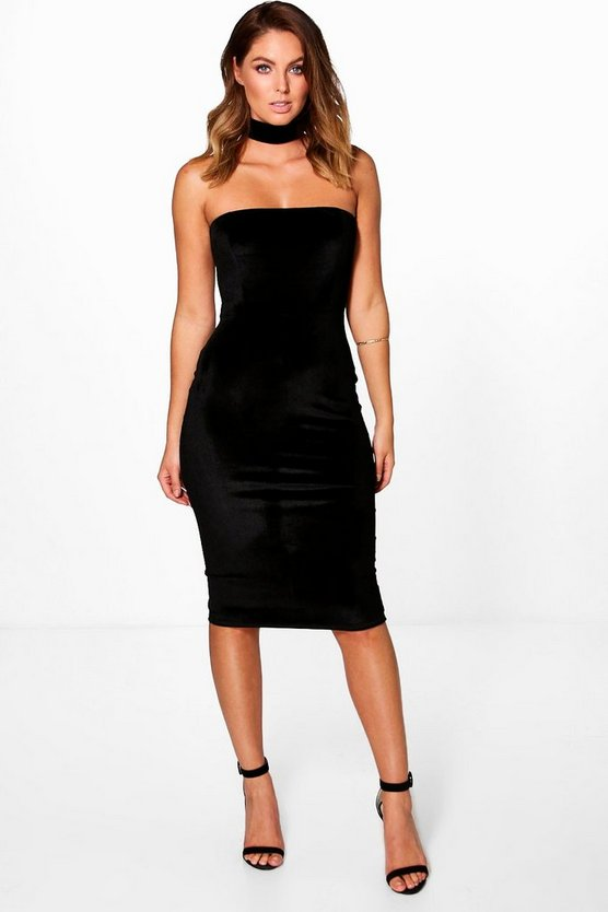 Harriet Velvet Choker Bodycon Dress
