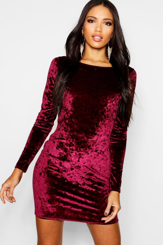 Crushed Velvet Long Sleeved Bodycon Dress - berry