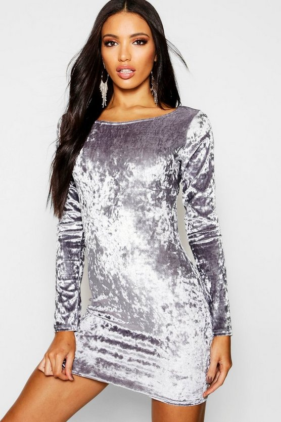Ari Crushed Velvet Long Sleeved Bodycon Dress