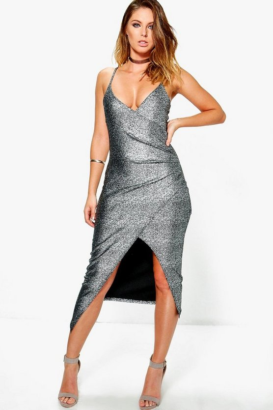 Kristen Metallic Wrap Strappy Midi Dress