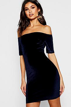 Anabel Velvet Off Shoulder Bodycon Dress