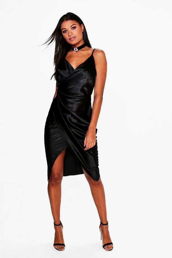 Satin Wrap Strappy Midi Dress