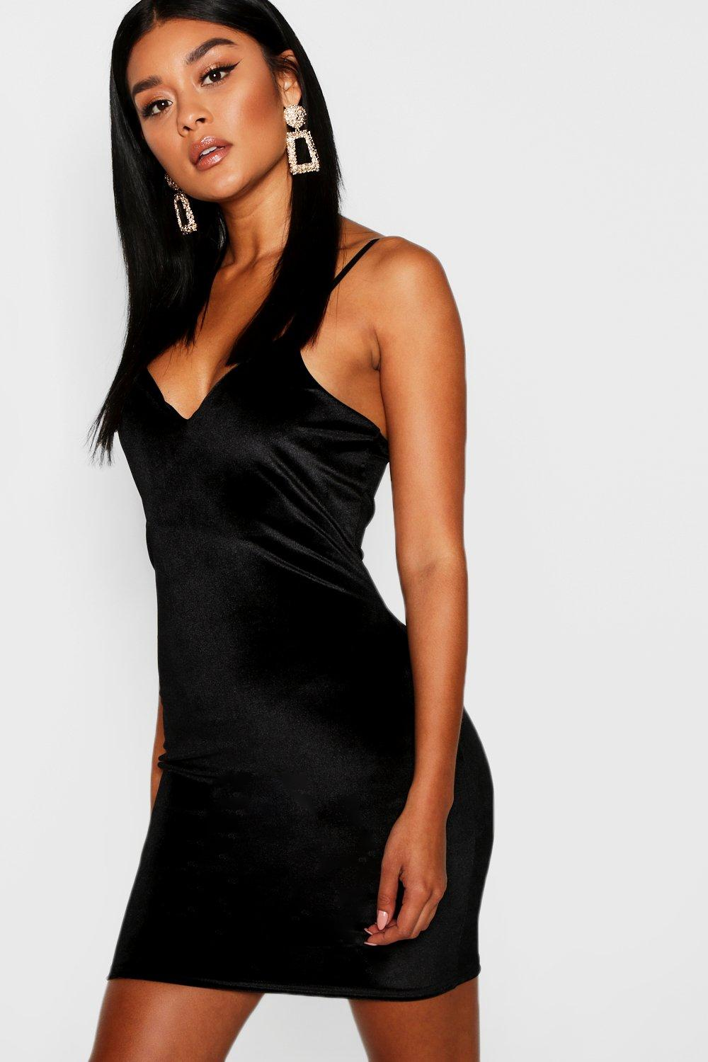 Mona Velvet Strappy Plunge Neck Bodycon Dress