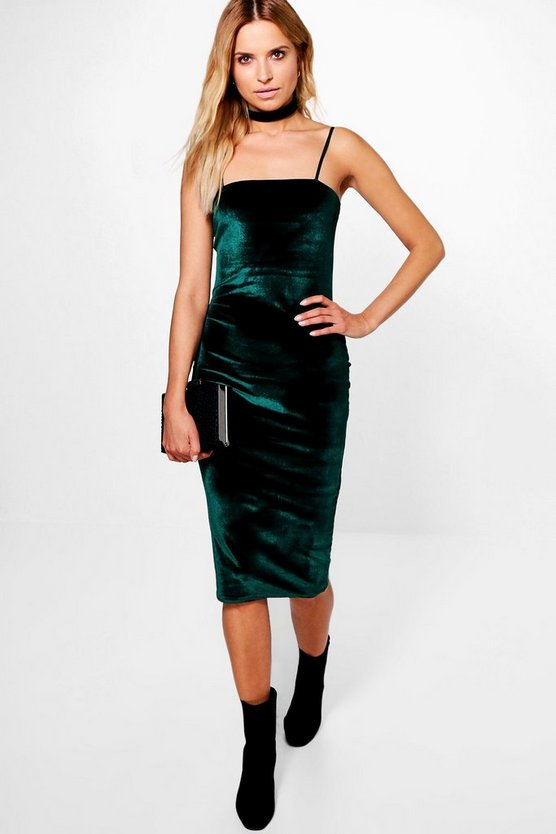 Abela Velvet Square Neck Choker Midi Dress