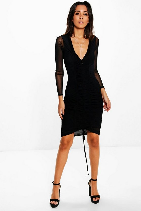Em Sheer Mesh Rouched Detail Bodycon Dress