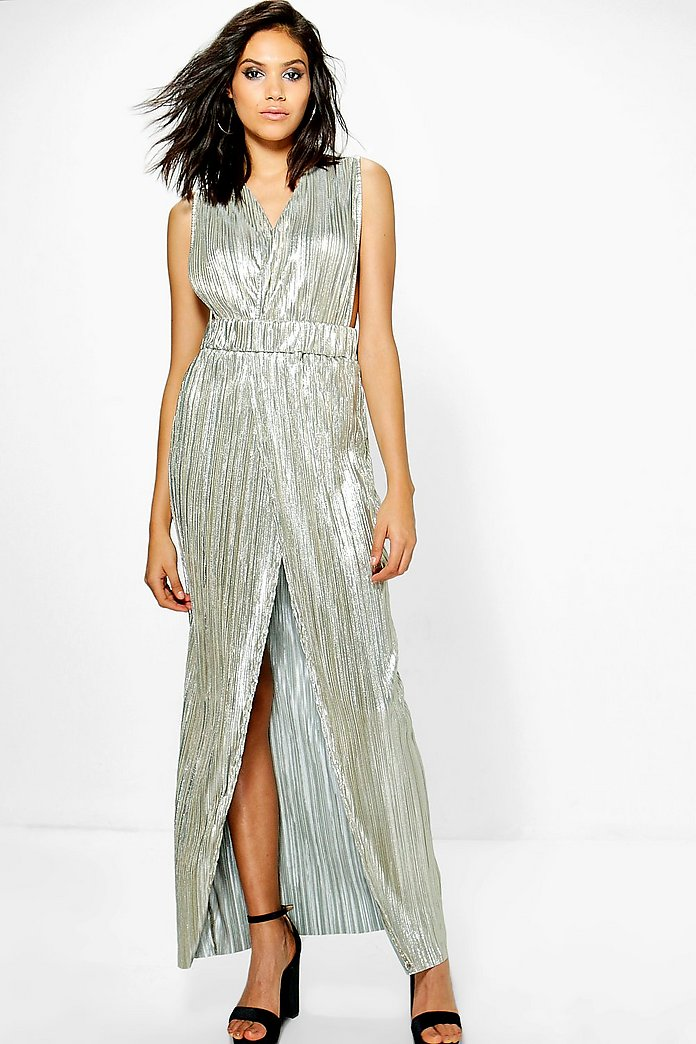 Lottie Metallic Pleat Wrap Plunge Maxi Dress
