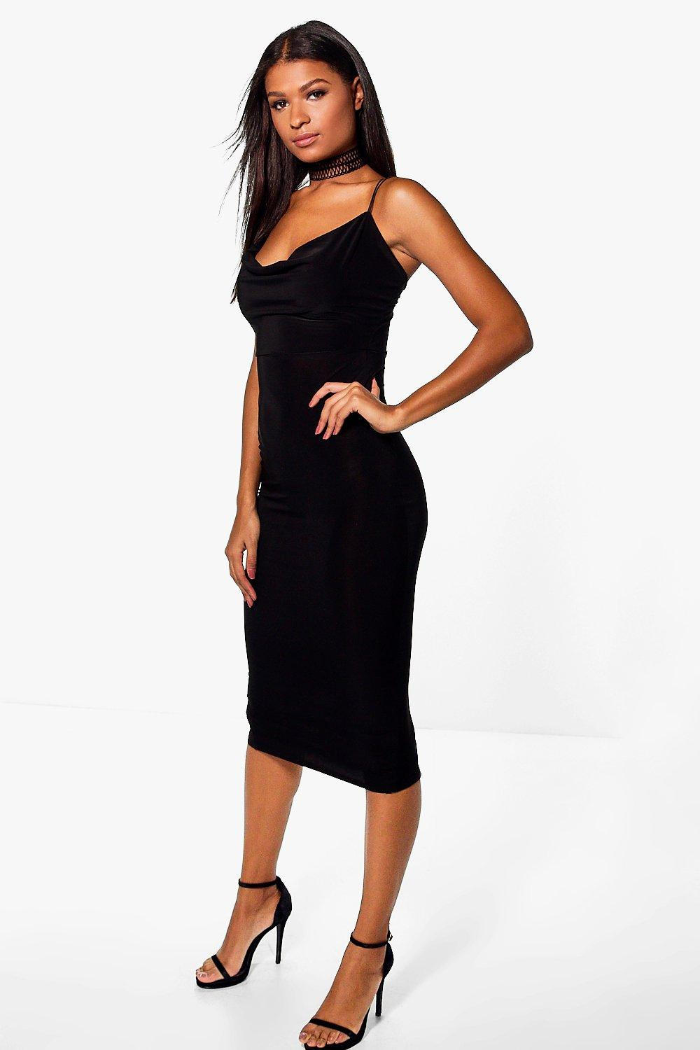 Jeanie Extreme Cowl Choker Detail Midi Dress