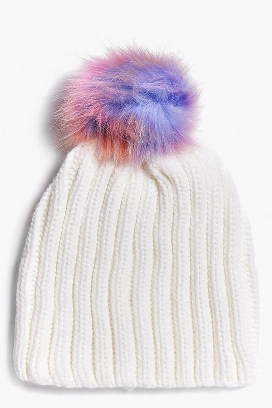 Jennifer Mermaid Faux Fur Pom Beanie Hat