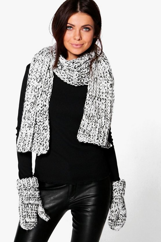 Laila Mixed Knit Scarf & Mitten Set