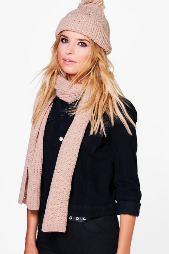 Alicia Faux Fur Pom Beanie & Scarf Set