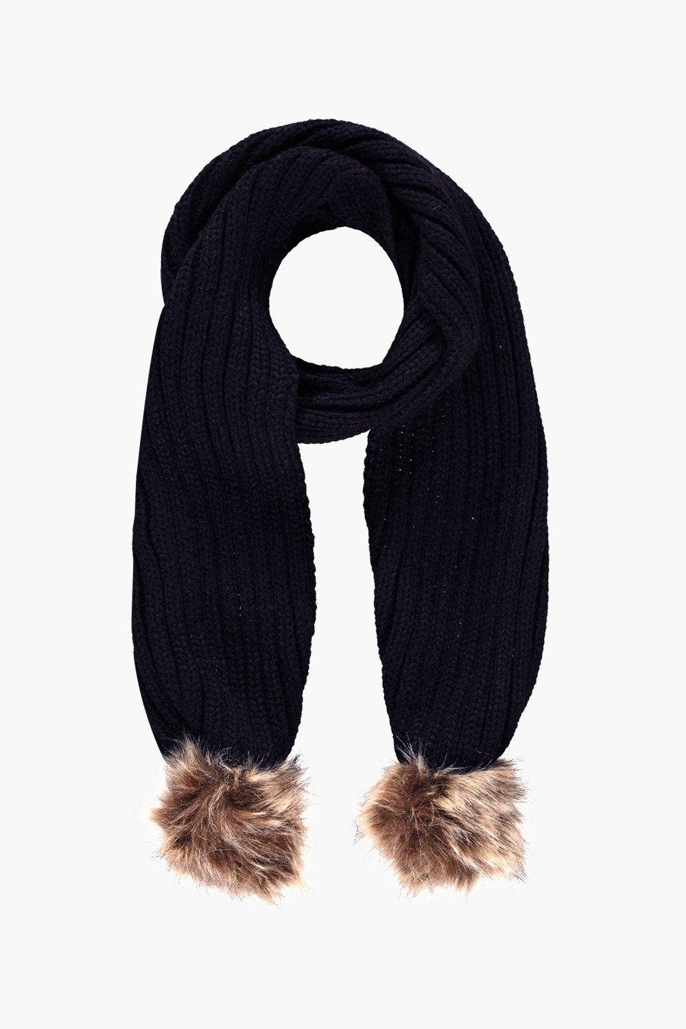 Faux Fur Pom Knitted Scarf - black - Eve Faux Fur