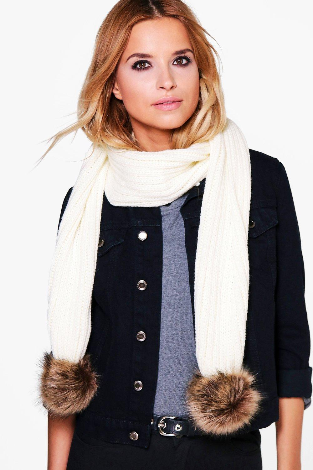 Faux Fur Pom Knitted Scarf - cream - Eve Faux Fur